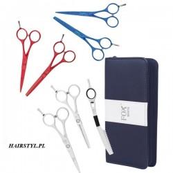 Fox Color, komplet: nożyczki + degażówki + nóż chiński + etui