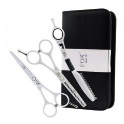 Fox Color BIAŁY, komplet: nożyczki + degażówki + nóż chiński + etui