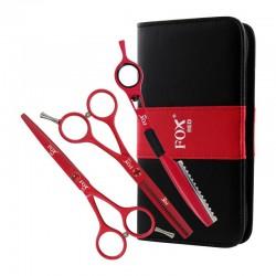 Fox Color CZERWONY, komplet: nożyczki + degażówki + nóż chiński + etui