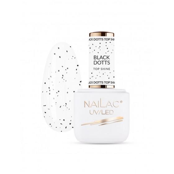 NAILAC Top hybrydowy Black Dotts TOP Shine 7ml