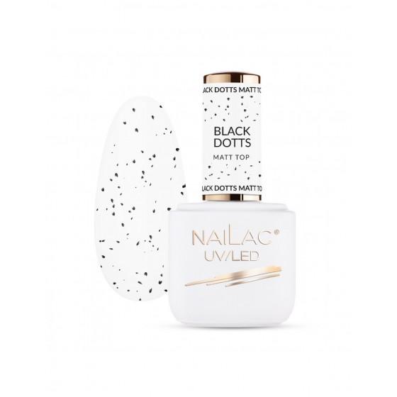 NAILAC Top hybrydowy Black Dotts Matt TOP 7ml